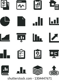 Solid Black Vector Icon Set - clean sheet of paper vector, pie chart, bar, growth, positive histogram, estimate, cardiogram, pile, survey, statistical report, overview, book on statistics, research
