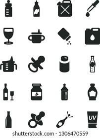 Solid Black Vector Icon Set - dummy vector, nipple, mug for feeding, measuring cup, bottle, powder, baby, glass, of soda, jar jam, liquor, canister, oil, pipette, wine, champagne, uv cream