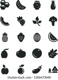 Solid Black Vector Icon Set - tomato vector, strawberry, apple, orange slice, honeycombs, grape, rose hip, blackberry, blueberry, melon, of, loquat, tangerine, pineapple, broccoli, eggplant, leaves