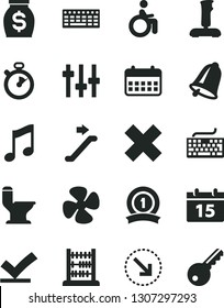 Solid Black Vector Icon Set - keyboard vector, cross, abacus, comfortable toilet, bell, calendar, music, right bottom arrow, fan screw, money, joystick, settings, stopwatch, medal ribbon, vote check