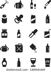 Solid Black Vector Icon Set - nipple vector, mug for feeding, measuring cup, bottle, powder, baby, e, glass, soda can, jar of jam, liquor, canister, pipette, wine, champagne, uv cream