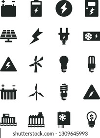 Solid Black Vector Icon Set - danger of electricity vector, lightning, dangers, charging battery, solar panel, windmill, wind energy, accumulator, light bulb, hydroelectric station, hydroelectricity