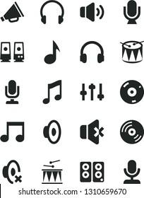 Solid Black Vector Icon Set - desktop microphone vector, horn, loudspeaker, silent mode, drumroll, drum, headphones, music, CD, volume, no sound, pc speaker, note, settings