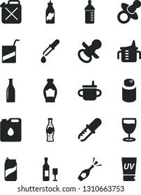 Solid Black Vector Icon Set - dummy vector, nipple, mug for feeding, measuring cup, bottle, powder, e, glass, soda can, of, liquor, canister, oil, pipette, wine, champagne, uv cream
