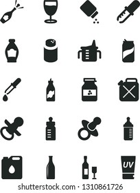 Solid Black Vector Icon Set - dummy vector, nipple, measuring cup for feeding, bottle, powder, baby, glass, soda can, jar of jam, liquor, canister, oil, pipette, wine, champagne, uv cream