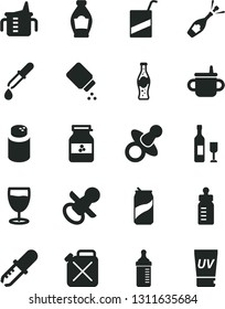 Solid Black Vector Icon Set - dummy vector, nipple, mug for feeding, measuring cup, bottle, powder, baby, e, glass, soda can, of, jar jam, canister, pipette, wine, champagne, uv cream