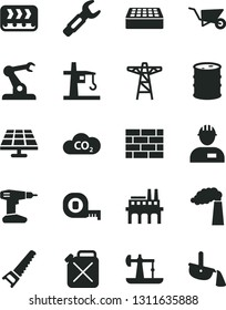 Solid Black Vector Icon Set - workman vector, brickwork, building trolley, drill, hand saw, measuring tape, brick, solar panel, oil derrick, manufacture, barrel, power pole, industrial enterprise