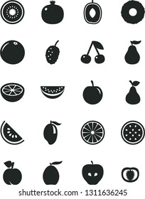 Solid Black Vector Icon Set - pear vector, cherry, peach, pomegranate, tasty apple, mulberry, slice of water melon, mango, loquat, delicious plum, half kiwi, passion fruit, orange, pineapple, tomato