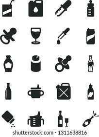 Solid Black Vector Icon Set - dummy vector, nipple, mug for feeding, measuring cup, bottle, powder, baby, e, glass, soda can, of, liquor, canister, oil, pipette, wine, champagne