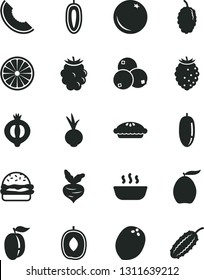 Solid Black Vector Icon Set - burger vector, pie, hot porridge, beet, orange, half of medlar, blackberry, tasty raspberry, blueberries, mulberry, slice melon, loquat, delicious plum, date fruit