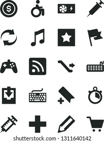 Solid Black Vector Icon Set - add bookmark vector, keyboard, renewal, plus, rss feed, download archive data, music, flag, pencil, pc power supply, joystick, syringe, stopwatch, star, dollar coin