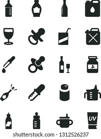 Solid Black Vector Icon Set - dummy vector, nipple, mug for feeding, measuring cup, bottle, powder, e, glass, jar of jam, liquor, canister, oil, pipette, wine, champagne, uv cream
