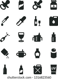 Solid Black Vector Icon Set - dummy vector, nipple, mug for feeding, measuring cup, bottle, powder, baby, glass, soda can, jar of jam, liquor, canister, oil, pipette, wine, champagne, uv cream