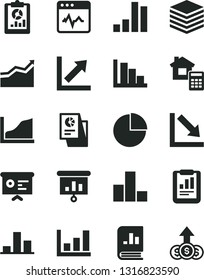 Solid Black Vector Icon Set - pie chart vector, bar, growth, negative, positive histogram, estimate, cardiogram, pile, statistical report, overview, book on statistics, research, presentation, graph