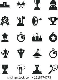 Solid Black Vector Icon Set - stopwatch vector, pedestal, racer, winner, podium, prize, award, gold cup, star, reward, medal, man with flag, motivation, purpose, cross flags, cloud ladder, tennis