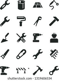 Solid Black Vector Icon Set - paint roller vector, safety pin, building trowel, small tools, adjustable wrench, cordless drill, hand saw, spatula, paving slab, road fence, hammer, with claw, builder