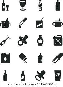 Solid Black Vector Icon Set - dummy vector, nipple, mug for feeding, measuring cup, bottle, baby powder, e, glass, of soda, liquor, canister, oil, pipette, wine, champagne, uv cream