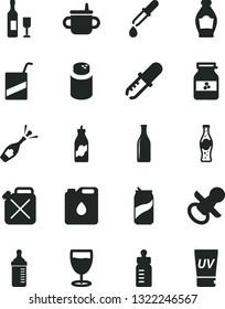 Solid Black Vector Icon Set - nipple vector, mug for feeding, bottle, measuring, powder, e, glass, soda can, of, jar jam, liquor, canister, oil, pipette, wine, champagne, uv cream