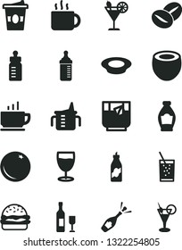 Solid Black Vector Icon Set - measuring cup for feeding vector, bottle, coffee, burger, a plate of milk, beans, tea, coffe to go, glass soda, cocktail, orange, liquor, half coconut, wine, champagne