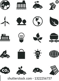 Solid Black Vector Icon Set - paper bag vector, big solar panel, leaves, leaf, windmill, planet, Earth, bulb, hydroelectric station, hydroelectricity, trees, eco car, electric, carbon dyoxide, globe