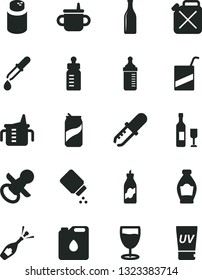 Solid Black Vector Icon Set - nipple vector, mug for feeding, measuring cup, bottle, powder, baby, e, glass, soda can, liquor, canister, of oil, pipette, wine, champagne, uv cream
