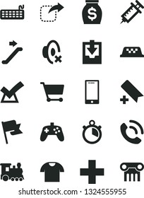 Solid Black Vector Icon Set - add bookmark vector, plus, silent mode, download archive data, flag, smartphone, T shirt, phone call, move right, cart, money, keyboard, joystick, syringe, stopwatch