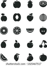 Solid Black Vector Icon Set - apple vector, cherry, peach, quince, apricot, red, tasty, water melon, slice of, mango, loquat, half, yellow lemon, kiwi, ripe pineapple, grapefruit, persimmon