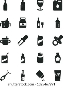 Solid Black Vector Icon Set - dummy vector, mug for feeding, measuring cup, bottle, powder, baby, e, glass, soda can, of, jar jam, liquor, canister oil, pipette, wine, champagne, uv cream