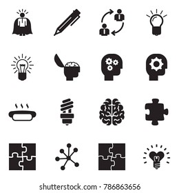 Solid black vector icon set - super manager vector, pen, employ exchange, bulb, brain, gear head, hot dog, puzzle, neural network, heart