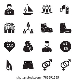 Solid black vector icon set - businessman vector, manager yacht, team, success, work boots, father day, doctor, chromosome, male reproductive system, shorts, female sign