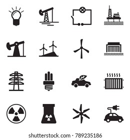 Solid black vector icon set - bulb vector, oil jack, wiring, offshore platform, windmill, hydro power plant, line pillar, eco car, radiator, nuclear, electric