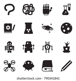Solid black vector icon set - intestines vector, robot hand, flask, logbook, nuclear, saturn, moon, plant chip, drone, ufo, book, pencil