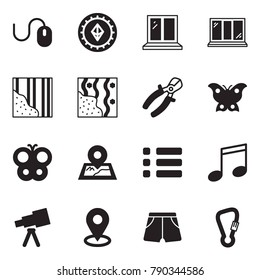 Solid black vector icon set - mouse vector, etherium sign, window, wallpaper, pliers, butterfly, map pin, menu, music, telescope, shorts, spring hook
