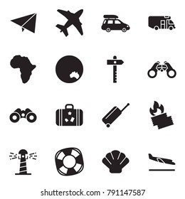 Solid black vector icon set - paper plane vector, car baggage, camper, africa, australia, signpost, binoculars, suitcase, wheel, burning ticket, lighthouse, lifebuoy, shell, arrival