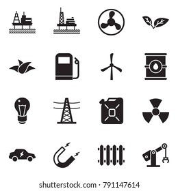 Solid black vector icon set - offshore oil platform vector, fan, leaf, gas station, windmill, barrel, bulb, power line pillar, canister, nuclear, electric car, magnet, radiator, manufacture robot