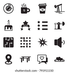 Solid black vector icon set - coffee vector, oil jack, candle cake, star ribbon, circuit, bang, low volume, map pin, beams, heart message, hearts