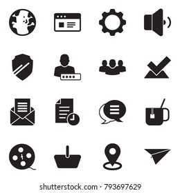 Solid black vector icon set - globe vector, website, gear, low volume, shield, user password, group, check, opened mail, history, chat, hot tea, film coil, basket, map pin, paper plane