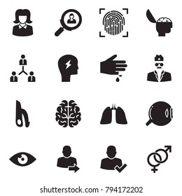 Solid black vector icon set - business woman vector, search employer, fingerprint, brain, team, headache, injury, doctor, male reproductive system, lungs, eye, user login, check, female sign