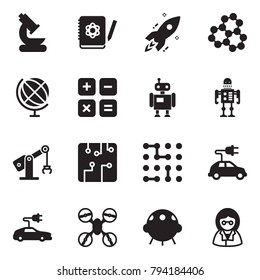 Solid black vector icon set - microscope vector, logbook, rocket, molecule, globe, calculator, robot, manufacture, circuit, electric car, drone, ufo, scientist