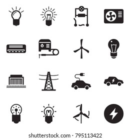 Solid black vector icon set - bulb vector, wiring, air condition, welding machine, windmill, hydro power plant, line pillar, electric car