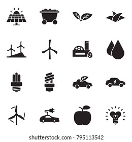 Solid black vector icon set - sun panel vector, mine trolley, leaf, windmill, eco factory, water drop, bulb, car, electric, apple, heart