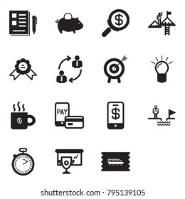 Solid black vector icon set - notes vector, piggy bank, search money, success, medal, employ exchange, motivation, bulb, coffee, mobile pay, phone wallet, chasm, stopwatch, cup presentation