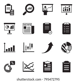 Solid black vector icon set - clipboard calculator vector, finance monitoring, presentation, newspaper, check list, growth chart, Japanese candles, arrow, circle, line, diagnosis