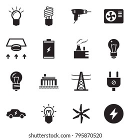 Solid black vector icon set - bulb vector, drill, air condition, ventilation, battery, thermal power plant, hydro, line pillar, plug, electric car, windmill