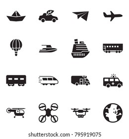 Solid black vector icon set - paper ship vector, eco car, plane, air balloon, yacht, cruiser, passenger wagon, train, camper, ambulance, medical helicopter, drone, globe