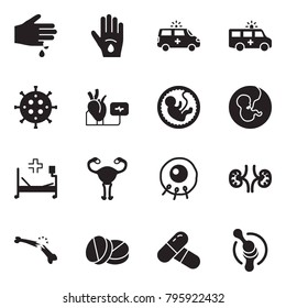 Solid black vector icon set - injury vector, ambulance car, bactery, heart diagnostic, pregnancy, hospital bed, female reproductive system, insemination, kidneys, broken bone, pills, joint