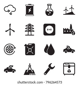 Solid black vector icon set - cloud exchange vector, battery, flask, windmill, power line pillar, socket, eco factory, gear, canister, water drop, car, draw, wrench, 3d printer