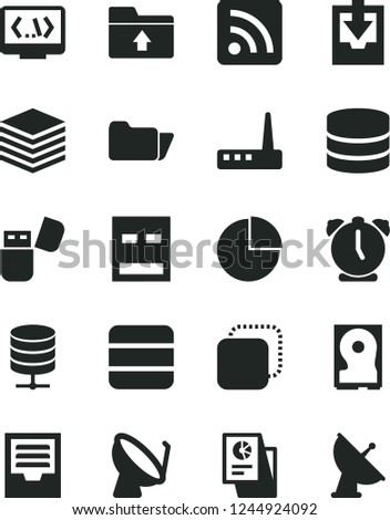 Solid Black Vector Icon Set Rss Stock Vector (Royalty Free