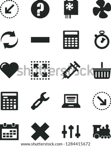 Solid Black Vector Icon Set Laptop Stock Vector (Royalty Free