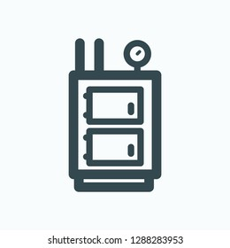 Solid fuel boiler icon, central heating solid fuel boiler vector icon